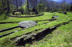 Sarmizegetusa Regia Sanctuary. Situated at 1200m altitude, Sarmizegetusa was the strategical centre of the dacian defensive system in Orastiei Mountains. The royalty free stock photography