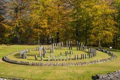 Sarmizegetusa Regia - santuario antico 7 di legno e della roccia Fotografie Stock Libere da Diritti
