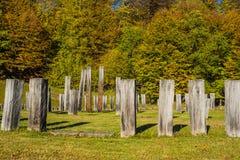 Sarmizegetusa Regia - santuario antiguo 8 de la roca y de madera Foto de archivo libre de regalías