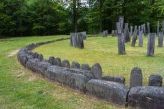 Sarmizegetusa Regia - sluit omhoog van Dacian-Ruïnes van Cirkeltempel stock foto