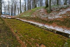 Ancient paved dacian road in Sarmizegetusa. Sarmizegetusa was the capital capital of the Dacian Empire. Today is a UNESCO World Heritage Site Stock Images
