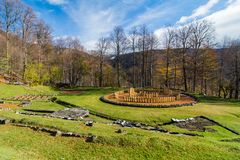 Ancient ruins of  Sarmisegetuza. Sarmizegetusa was the capital capital of the Dacian Empire. Today is a UNESCO World Heritage Site Stock Photo