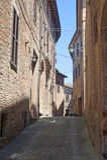 Sarnano (Macerata, Märze, Italien) - alte Straße Stockbilder