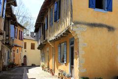 Sarrant, Gers, France. Beautiful half-timber houses in Sarrant in the Gers department of France. Sarrant is one of Frances most beautiful villages Stock Photography