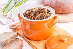 Sarrasin chaud avec des champignons de couche Photographie stock libre de droits