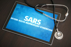 SARS (infectious disease) diagnosis medical concept on tablet. Screen with stethoscope Stock Photography