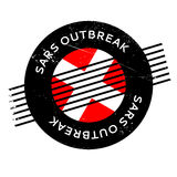 Sars Outbreak rubber stamp. Grunge design with dust scratches. Effects can be easily removed for a clean, crisp look. Color is easily changed Stock Images