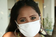 Sars prevention. An asian girl wearing a surgical mask to prevent catching sars Royalty Free Stock Images