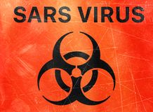 Sars, biological hazards, biohazards, refer to biological substances that pose a threat to the health of living organisms, viruses. Sars virus, sign indicating stock illustration