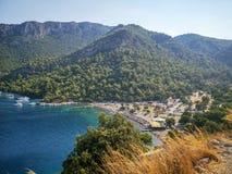 Sarsala海湾,看法, Gocek,土耳其 库存图片