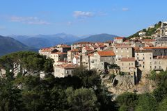 Sartène, historic city in South Corsica stock photo