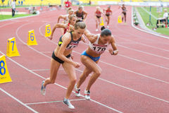 Sart the race on International athletic competition Royalty Free Stock Photos