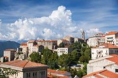 Sartene krajobraz, stary miasteczko Corsica obrazy stock