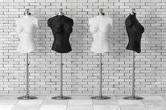 Sarto d'annata in bianco e nero Women Mennequins rappresentazione 3d illustrazione di stock