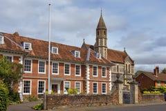Sarum högskola- och domkyrkaslut, Salisbury, England Arkivbild