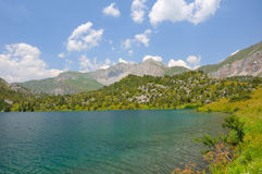 Sary-Chelek Lake and mountains Royalty Free Stock Image