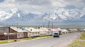 View on Sary-Tash a village. SARY-TASH, KYRGYZSTAN - CIRCA JUNE 2017: View on Sary-Tash a village and major crossroads in the Alay Valley of Osh Region Royalty Free Stock Images