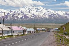View on Sary-Tash a village. SARY-TASH, KYRGYZSTAN - CIRCA JUNE 2017: View on Sary-Tash a village and major crossroads in the Alay Valley of Osh Region Royalty Free Stock Photos
