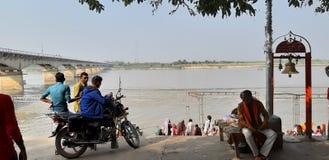 Saryurivier Sri Ayodhya Ji Dham stock foto