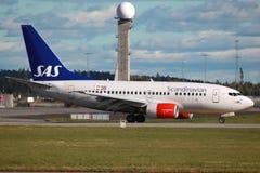 SAS斯堪的纳维亚航空公司波音737-600 库存图片