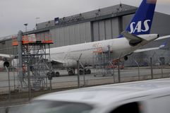 SAS AEROPLANE. Copenhagen /Denmark - 15 January 2018_ .SAS aeroplane or scandinvaian airlines parked at Cioenhagen Interntiona Airport Kastrup.         Photo Stock Photo