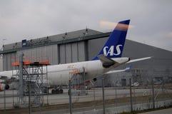 SAS AEROPLANE. Copenhagen /Denmark - 15 January 2018_ .SAS aeroplane or scandinvaian airlines parked at Cioenhagen Interntiona Airport Kastrup.         Photo Royalty Free Stock Photos