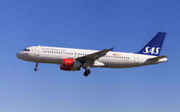 SAS Airbus A320. Approaching to El Prat Airport in Barcelona, Spain Stock Images