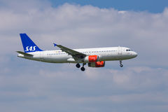 SAS Airbus A320. SAS (Scandinavian Airlines System) Airbus A320 on approach to land stock photos