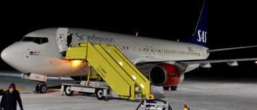 SAS B737 aircraft on snow royalty free stock photos