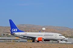 SAS flygbolagAlicante flygplats royaltyfri fotografi
