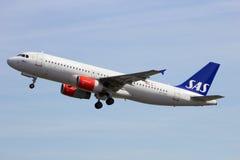 SAS flygbuss A320 Fotografering för Bildbyråer