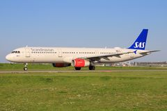 SAS flygbuss A321 arkivbild