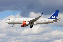 SAS flygbuss A320neo Royaltyfria Foton