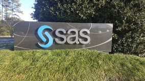 SAS institute entrance in Cary, NC. Entrance of the famous SAS statistical analysis software company entrance in Cary North Carolina America Royalty Free Stock Images