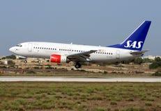 SAS 737 ląduje Zdjęcie Stock