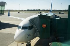 SAS Plane boarding in Airport. SAS flight boarding at Gotherburg Airport in Sweden Royalty Free Stock Photos
