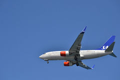 A SAS plane is landing. Royalty Free Stock Photography