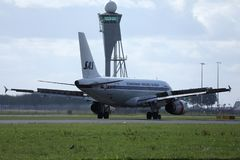 SAS Scandinavian Airlines Retro airplane landing in AMS Airport. SAS Scandinavian Airlines airplane lands in Amsterdam Airport Schiphol AMS, Netherlands stock photos