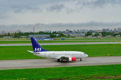 SAS Scandinavian Airlines Boeing 737-683 aircraft  in Pulkovo International airport in Saint-Petersburg, Russia Royalty Free Stock Photos