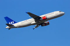 SAS Scandinavian Airlines Boeing 737NG aircraft. AMSTERDAM-SCHIPHOL - FEB 16, 2016: SAS Scandinavian Airlines Airbus A320 airplane take-off from Schiphol airport Stock Photography