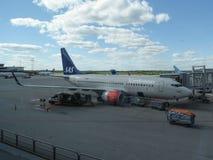 SAS skandinaviska flygbolag Boeing 737-800 Arkivfoto