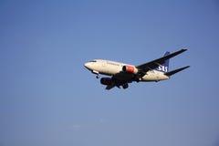 SAS skandinaviskt flygbolagflygplan Fotografering för Bildbyråer