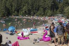Sasamat jezioro w Belcarra regionalności parku w Portowy Markotnym fotografia stock