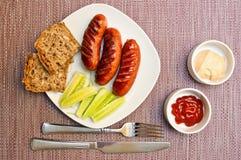 Sasauges fritti per la prima colazione Fotografia Stock