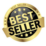 Button with Banner Best Seller. Round colored button with banner Best Seller Royalty Free Stock Images