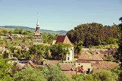 Saschiz fortificó la iglesia fotografía de archivo