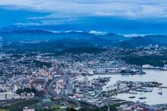 Sasebo city skyline at night from mount Yumihari overlook Nagasaki, Japan Stock Photos