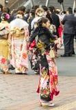 Sasebo, Giappone - 7 gennaio 2018: Donna giapponese emozionante in kimono alla c immagine stock