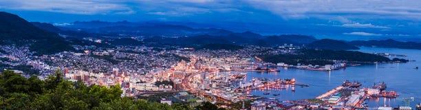 Sasebo stadshorisont, Nagasaki, Kyushu Arkivfoto