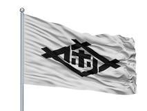 Sasebo-Stadt-Flagge auf Fahnenmast, Japan, Präfektur Nagasaki, lokalisiert auf weißem Hintergrund Vektor Abbildung